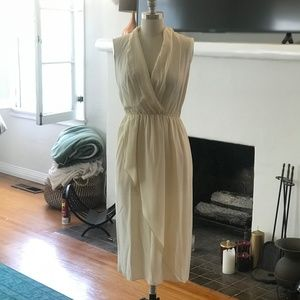 Vince Ivory silk wrap skirt dress with pockets
